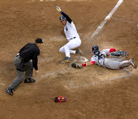 Derek Jeter slides into home as Red Sox catcher Victor Martinez.... umm never mind, whatever, the Yankees won anyway.